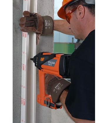 Монтаж пластиковых кабель-каналов к бетону газовым монтажным пистолетом Pulsa 700 с гвоздями HCG6